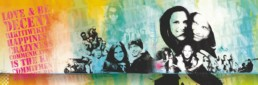 Personlig og grafisk collagekunst af D'ROUGE studio, 200x60 cm