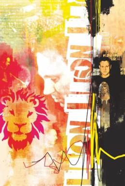 Personlig og grafisk collagekunst af D'ROUGE studio, 100x150 cm på lærred